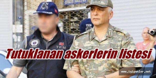 Askeri darbe, Tutuklanan komutanlar ve askerlerin tam listesi