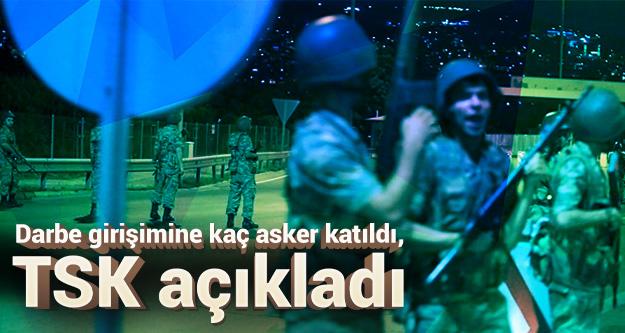 Darbe girişimine kaç asker katıldı, TSK açıkladı