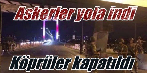 Flaş Haber, İstanbul'da boğaz köprülerini asker geçişe kapattı
