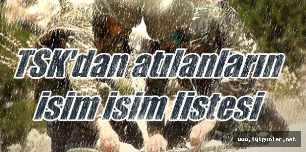 Ordudan atılanların isim listesi: FETÖ'cü artıkları TSK içinden temizleniyor