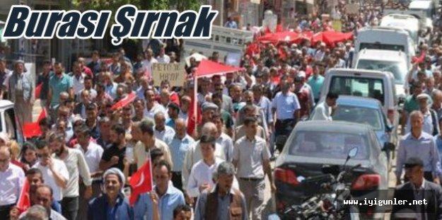 Şırnak'ta binlerce kişi Türk bayraklarıyla yürüdü