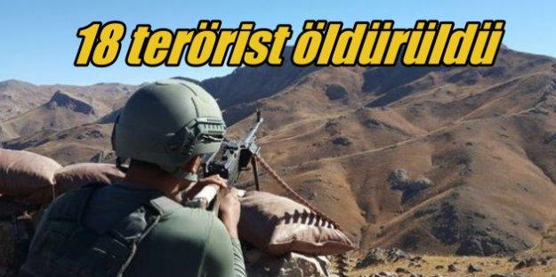 Kars, Hakkari, Şırnak ve Ağrı'da 18 terörist öldürüldü