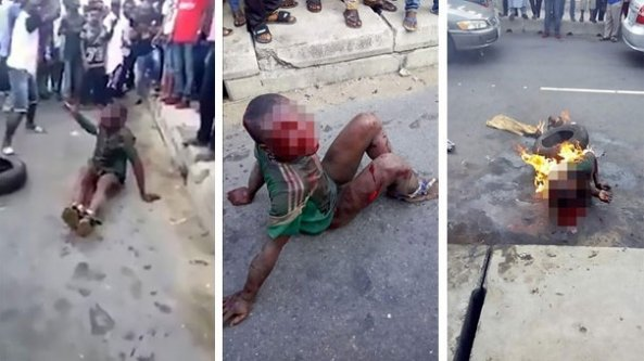 Açlıktan yiyecek çalan çocuğu yakarak katlettiler