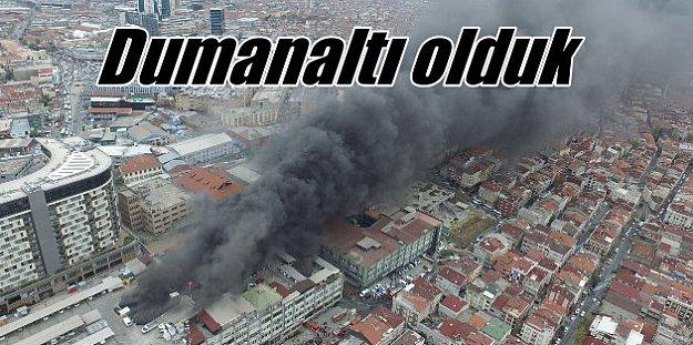 Bayrampaşa'da yangın; Helikopterler müdahale ediyor