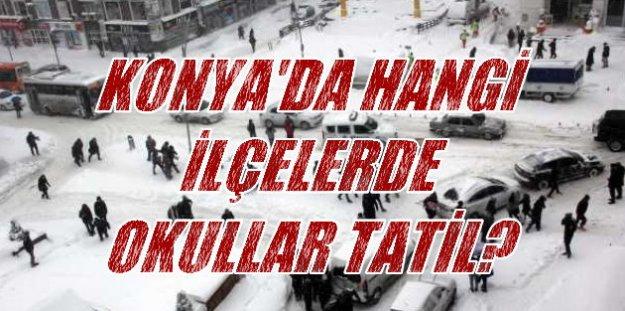 Konya'da kar tatili, Konya'da 16 ilçede okullar tatil 22 Aralık 2016