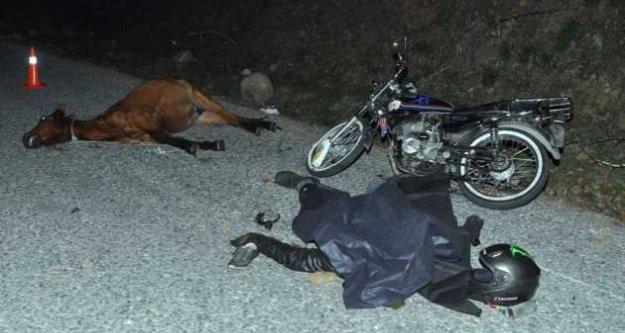 Motorsikler yarış atına çarptı, 1 ölü var