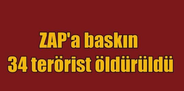Zap'a hava akını: 34 PKK'lı terörist öldürüldü