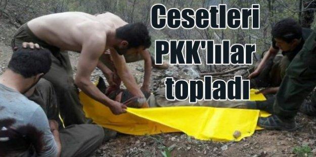 Öldürülen teröristlerin cesetlerini yakalanan PKK'lılar topladı