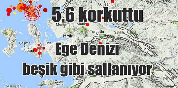 Ege denizinde deprem; 5.6 ile sallandı, deprem fırtınası başladı