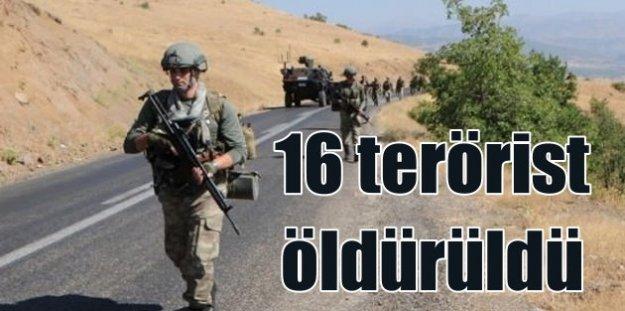 TSK açıkladı; 16 PKK'lı terörist öldürüldü