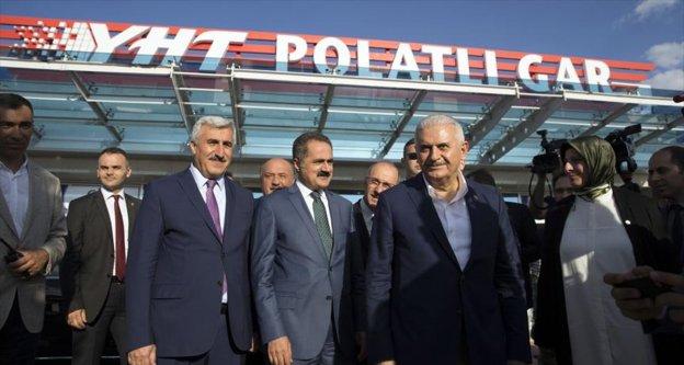 Başbakan Yıldırım, Polatlı'dan Ankara'ya yüksek hızlı trenle döndü