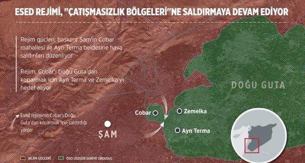 Esed rejimi 'çatışmasızlık bölgeleri'ne saldırmaya devam ediyor