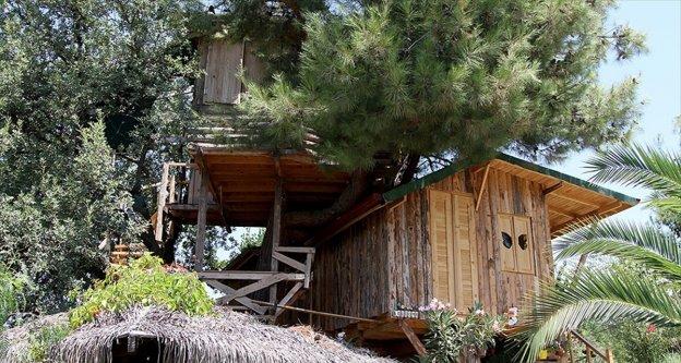 Kesmeye kıyamadığı ağaçların arasına ev yaptı