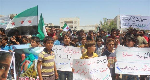 Bab'ta terör örgütü PKK/PYD karşıtı gösteri