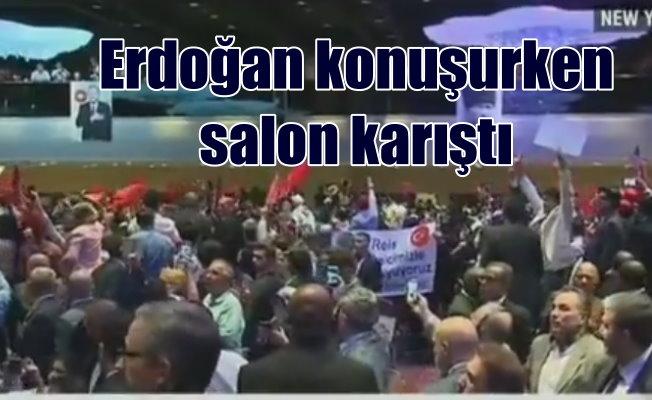 Erdoğan New York'ta konuşurken salon karıştı