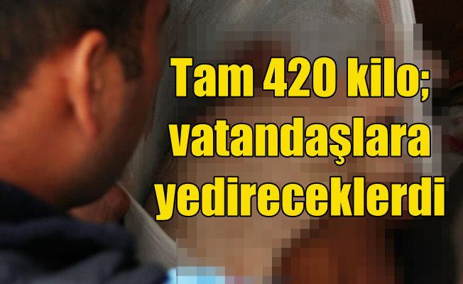 Polisin durdurduğu araçta, 420 kilo domuz eti bulundu
