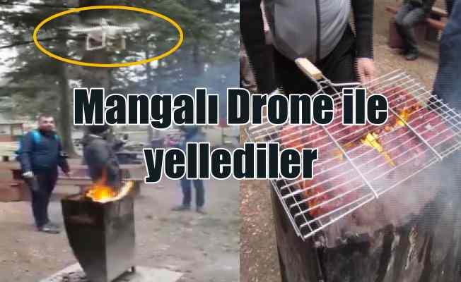 Mangalda sucuk için Drone kullandılar