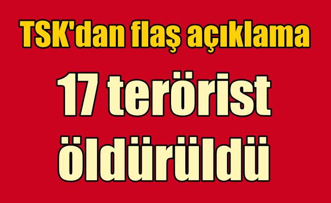 TSK'dan flaş açıklama: 17 terörist öldürüldü