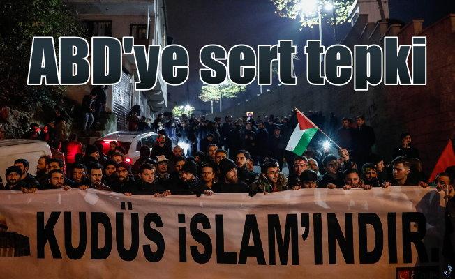 ABD konsolosluğu önünde Kudüs protestosu