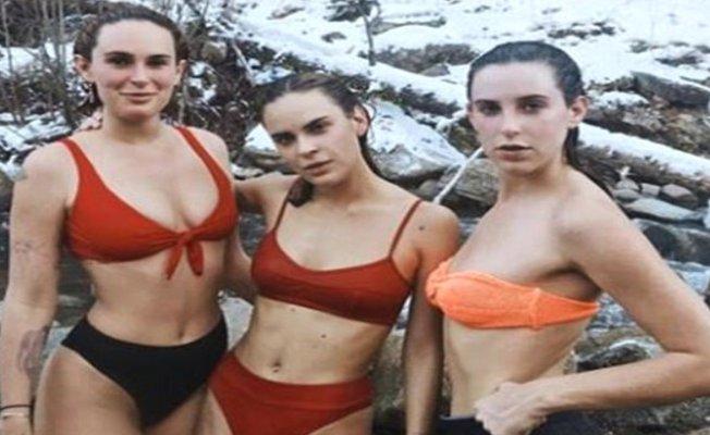 Kar Kış Demeden Bikini Giyip Kaynak Suya Girdi