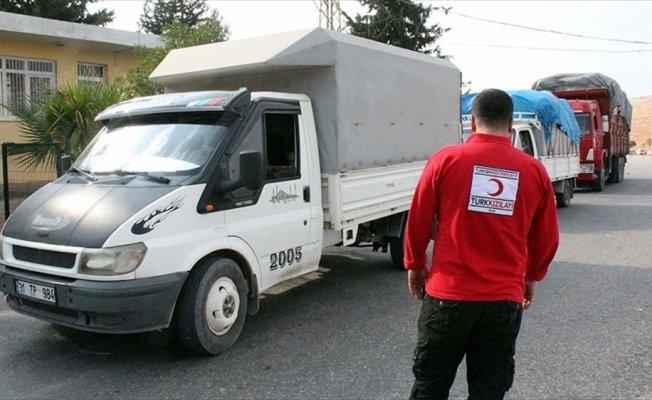 Türk Kızılayından Suriyelilere 188 araçlık kış yardım