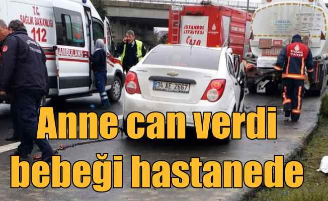 TEM'de feci kaza; Kadın sürücü can verdi, bebeği hastanede