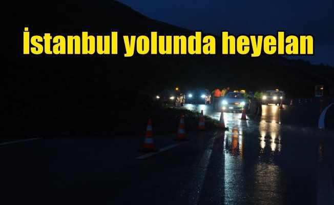 İstanbul yolunda korkutan heyelan: Ulaşım güçlükle yapılıyor