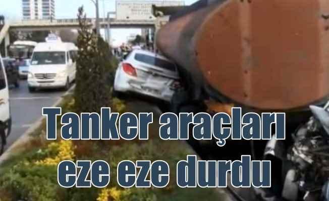Başakşehir'de tanker araçları eze eze durdu