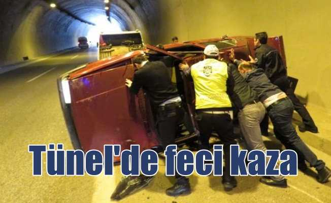 Tantavi Tüneli'nde feci kaza: Takla atarak durabildi