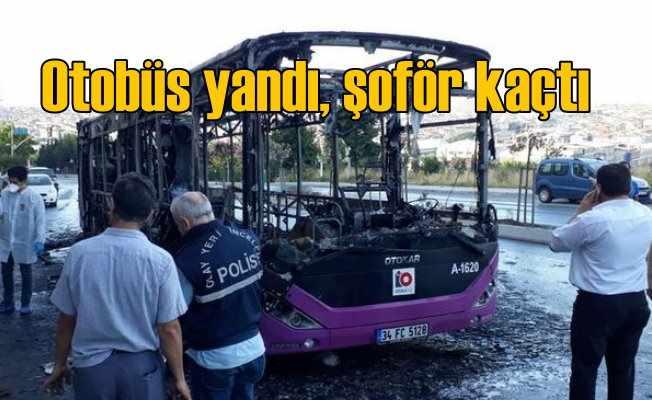 Gazi Mahallesi'nde otobüs yandı, şoför kaçtı