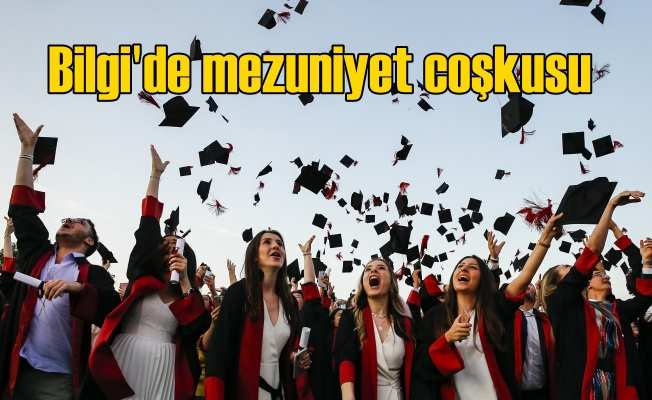 Bilgili öğrencilerin mezuniyet coşkusu