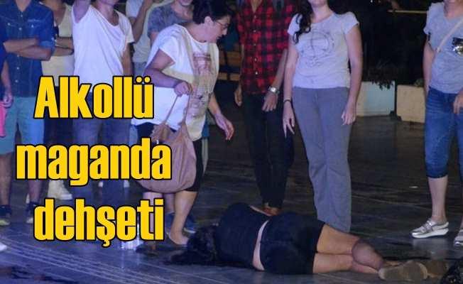 Alkollü maganda cadde ortasında kadına saldırdı