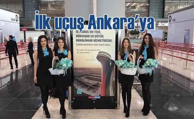 Yeni havalimanından ilk uçak Ankara için havalandı