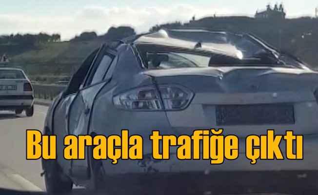 Kazada pert olan araç trafiğe çıktı