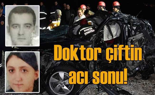 Konya'da doktor çift kazada can verdi