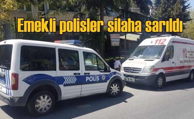 Emekli polisler sokak ortasında çatıştı