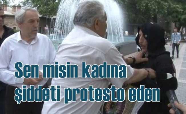 Kadına şiddeti protesto ederken saldırıya uğradı