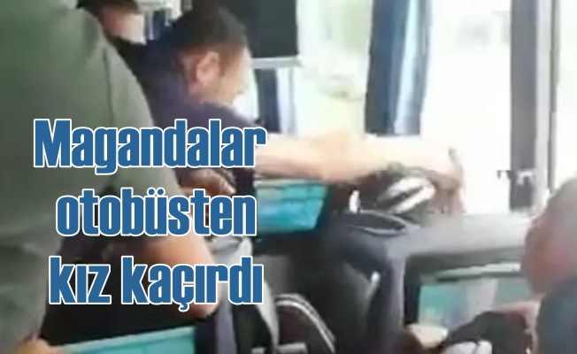 Magandalar yol kesti, otobüsten kadın kaçırdı