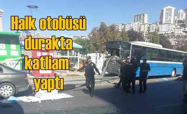 Mamak'ta halk otobüsü durağa daldı, 4 vatandaş can verdi