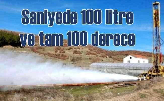 Sondaj kuyusundan saniyede 100 litre sıcak su fışkırdı