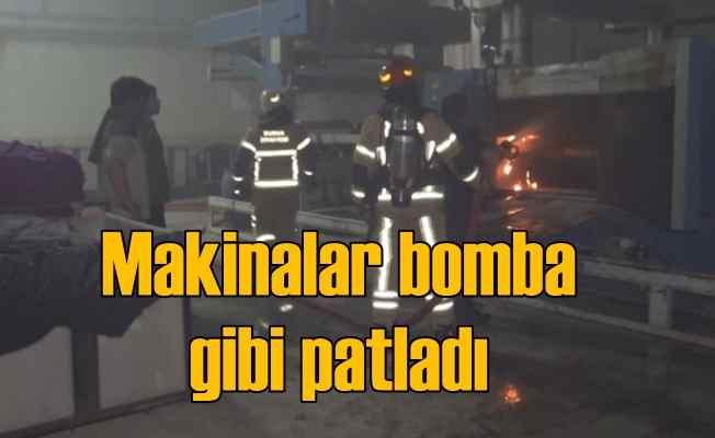 Tekstil makinası bomba gibi patladı, işçiler tahliye edildi