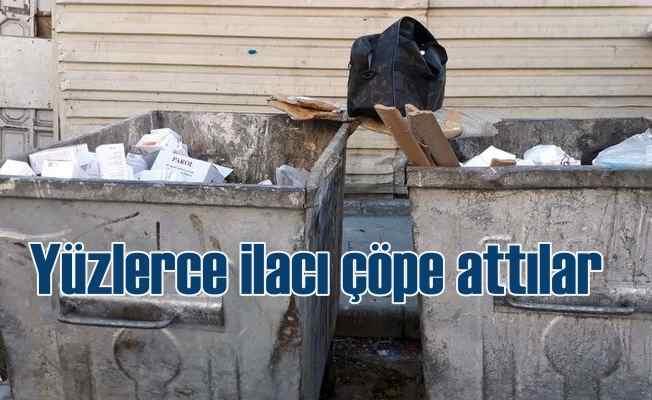 Yüzlerce ilacı çöp kutusunu atarak kaçtılar