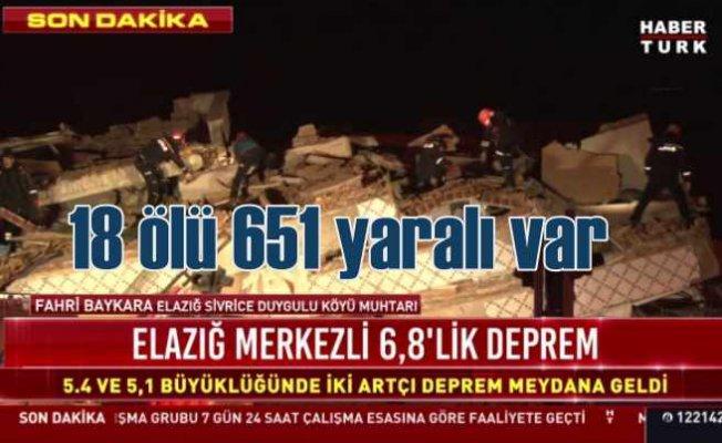 Elazığ'da deprem   18 ölü 651 yaralı var