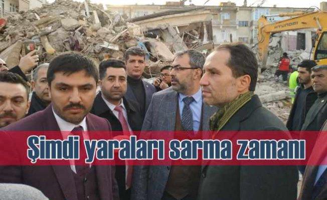 Fatih Erbakan deprem bölgesi Elazığ'da   Şimdi yaraları sarma zamanı