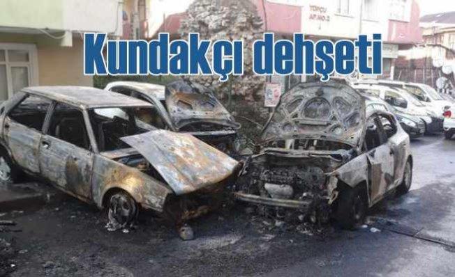Fatih'te kundakçılar 9 aracı yakarak kaçtı