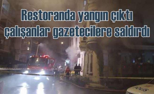 Balık restoranında yangın, çalışanlar gazetecilere saldırdı