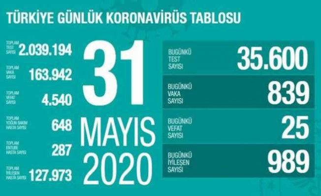 Koronavirüs 31 mayıs raporu | 126 bin vatandaşımız iyileşti