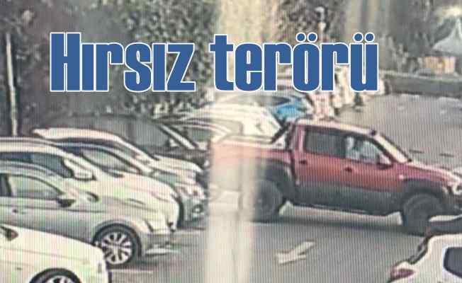 Otomobil hırsızı site bahçesinde terör estirdi