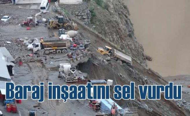 Yusufeli Baraj inşaatını sel vurdu, hasar büyük