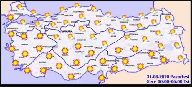 Bugün hava nasıl olacak? | 31 Ağustos il il hava tahmini